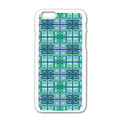 Mod Blue Green Square Pattern Apple Iphone 6/6s White Enamel Case