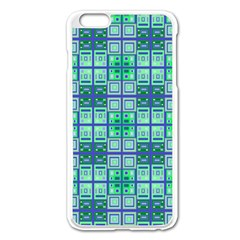 Mod Blue Green Square Pattern Apple Iphone 6 Plus/6s Plus Enamel White Case