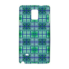 Mod Blue Green Square Pattern Samsung Galaxy Note 4 Hardshell Case