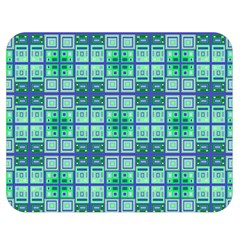 Mod Blue Green Square Pattern Double Sided Flano Blanket (medium)
