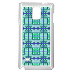 Mod Blue Green Square Pattern Samsung Galaxy Note 4 Case (white)
