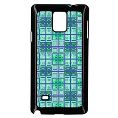 Mod Blue Green Square Pattern Samsung Galaxy Note 4 Case (black)