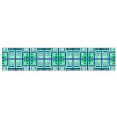 Mod Blue Green Square Pattern Small Flano Scarf