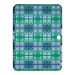 Mod Blue Green Square Pattern Samsung Galaxy Tab 4 (10 1 ) Hardshell Case