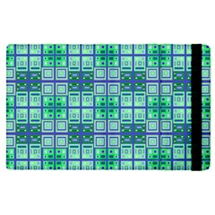 Mod Blue Green Square Pattern Apple Ipad Pro 9 7   Flip Case by BrightVibesDesign