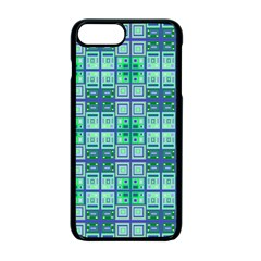 Mod Blue Green Square Pattern Apple Iphone 7 Plus Seamless Case (black)