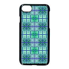 Mod Blue Green Square Pattern Apple Iphone 7 Seamless Case (black)