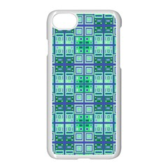 Mod Blue Green Square Pattern Apple Iphone 8 Seamless Case (white)