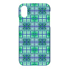 Mod Blue Green Square Pattern Apple Iphone X Hardshell Case