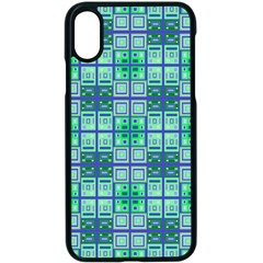 Mod Blue Green Square Pattern Apple Iphone X Seamless Case (black)