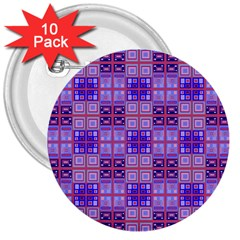 Mod Purple Pink Orange Squares Pattern 3  Buttons (10 Pack)