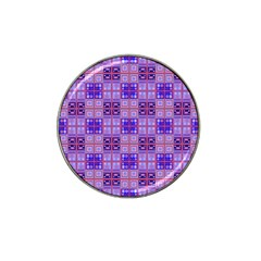 Mod Purple Pink Orange Squares Pattern Hat Clip Ball Marker