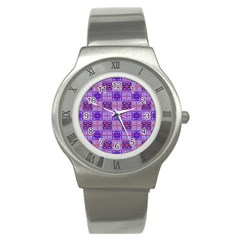 Mod Purple Pink Orange Squares Pattern Stainless Steel Watch