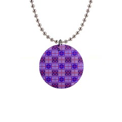 Mod Purple Pink Orange Squares Pattern Button Necklaces