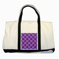 Mod Purple Pink Orange Squares Pattern Two Tone Tote Bag