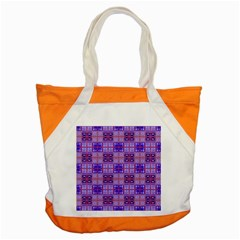 Mod Purple Pink Orange Squares Pattern Accent Tote Bag