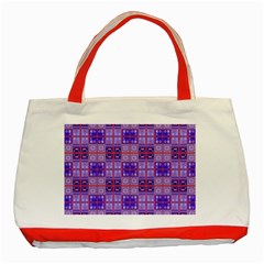 Mod Purple Pink Orange Squares Pattern Classic Tote Bag (red)