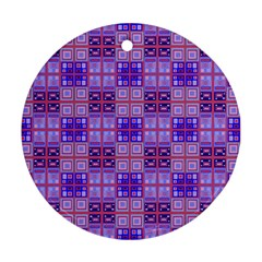 Mod Purple Pink Orange Squares Pattern Round Ornament (two Sides)