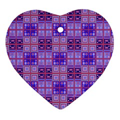 Mod Purple Pink Orange Squares Pattern Heart Ornament (two Sides) by BrightVibesDesign