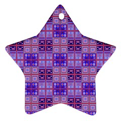 Mod Purple Pink Orange Squares Pattern Star Ornament (two Sides)
