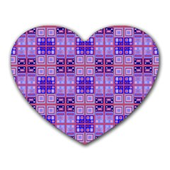 Mod Purple Pink Orange Squares Pattern Heart Mousepads