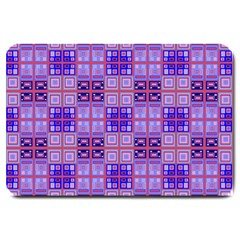 Mod Purple Pink Orange Squares Pattern Large Doormat