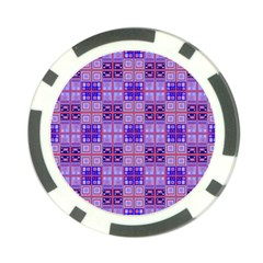 Mod Purple Pink Orange Squares Pattern Poker Chip Card Guard