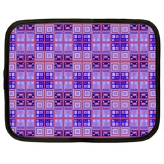 Mod Purple Pink Orange Squares Pattern Netbook Case (large)