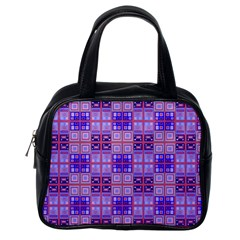 Mod Purple Pink Orange Squares Pattern Classic Handbag (one Side)