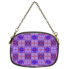 Mod Purple Pink Orange Squares Pattern Chain Purse (two Sides)