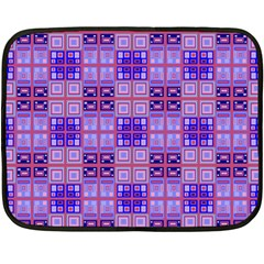 Mod Purple Pink Orange Squares Pattern Double Sided Fleece Blanket (mini)