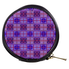 Mod Purple Pink Orange Squares Pattern Mini Makeup Bag