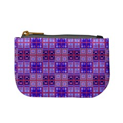 Mod Purple Pink Orange Squares Pattern Mini Coin Purse
