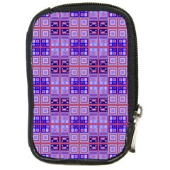 Mod Purple Pink Orange Squares Pattern Compact Camera Leather Case