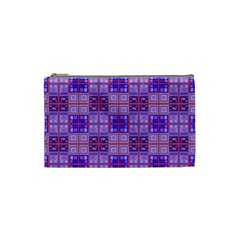 Mod Purple Pink Orange Squares Pattern Cosmetic Bag (small)