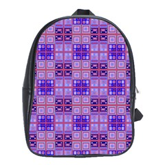 Mod Purple Pink Orange Squares Pattern School Bag (large)