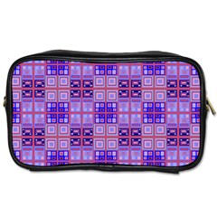 Mod Purple Pink Orange Squares Pattern Toiletries Bag (two Sides)