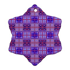 Mod Purple Pink Orange Squares Pattern Snowflake Ornament (two Sides) by BrightVibesDesign