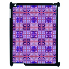 Mod Purple Pink Orange Squares Pattern Apple Ipad 2 Case (black)
