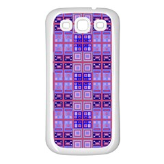 Mod Purple Pink Orange Squares Pattern Samsung Galaxy S3 Back Case (white)