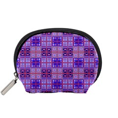 Mod Purple Pink Orange Squares Pattern Accessory Pouch (small)