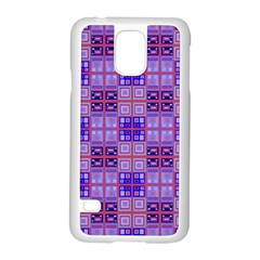 Mod Purple Pink Orange Squares Pattern Samsung Galaxy S5 Case (white)