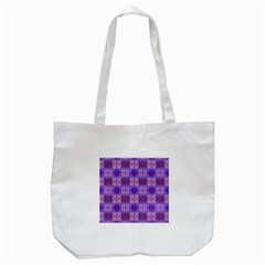 Mod Purple Pink Orange Squares Pattern Tote Bag (white)
