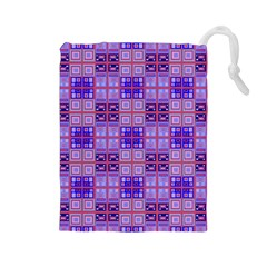 Mod Purple Pink Orange Squares Pattern Drawstring Pouch (large)