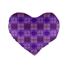 Mod Purple Pink Orange Squares Pattern Standard 16  Premium Flano Heart Shape Cushions