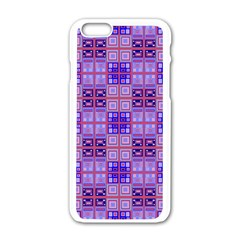 Mod Purple Pink Orange Squares Pattern Apple Iphone 6/6s White Enamel Case