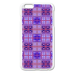 Mod Purple Pink Orange Squares Pattern Apple Iphone 6 Plus/6s Plus Enamel White Case