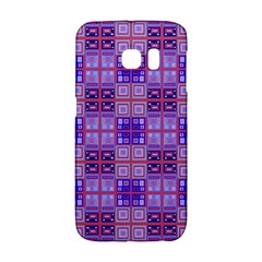 Mod Purple Pink Orange Squares Pattern Samsung Galaxy S6 Edge Hardshell Case