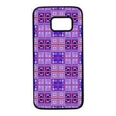 Mod Purple Pink Orange Squares Pattern Samsung Galaxy S7 Black Seamless Case