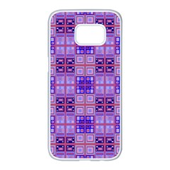 Mod Purple Pink Orange Squares Pattern Samsung Galaxy S7 Edge White Seamless Case